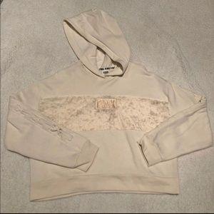 Cream colored crop PINK hoodie